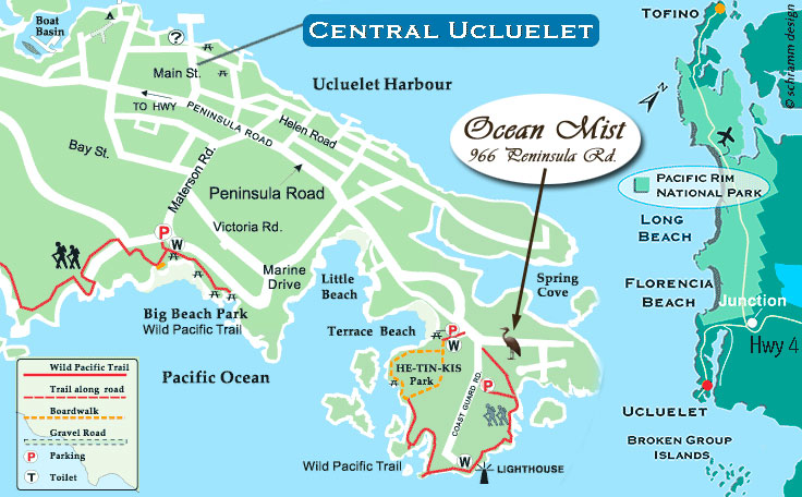 Map, Ucluelet Bed Breakfast B&B, Ocean Views, Kitchenettes, Beaches, Wild Pacific Trail, Storm Watching, Private, Friendly Hosts, Ocean Mist Guesthouse, Ucluelet, BC
