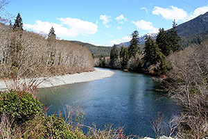 Kennedy River. Drive to Ocean Mist Guesthouse B&B, Highway 4, Ucluelet, BC