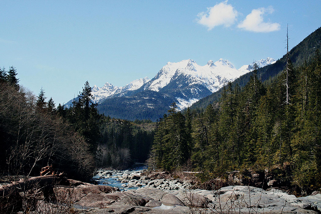 Majestic Mountains. Drive to Ocean Mist Guesthouse B&B, Highway 4, Ucluelet, BC