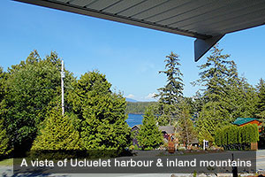 A vista of Ucluelet harbour and inland mountains from the Uncle John Room Suite, Ocean Mist Guesthouse B&B, Ucluelet, BC